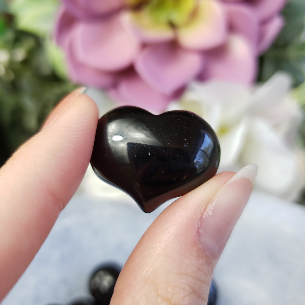 Black Agate - 1 inch Sweet Heart (25mm)