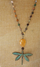 Load image into Gallery viewer, Orange Calcite & a Rustic Dragonfly on Gunmetal Chain with Mixed Matte Crystal Beads