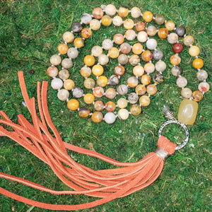 Crazy Lace Agate with Orange Calcite Boho Necklace
