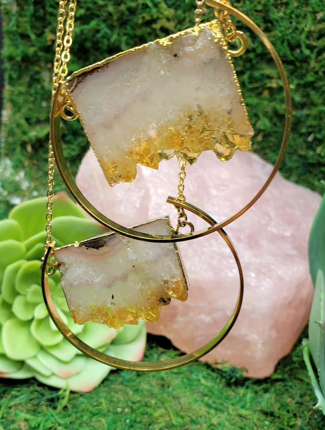Citrine Stalactite Slice Boho, Healing Necklace