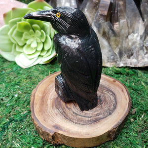 Black Onyx Carved Raven