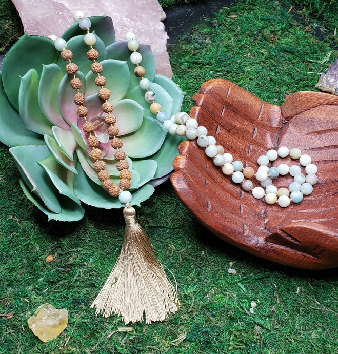 Amazonite and Rudraksha 108 Bead Mala