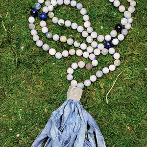 Aquamarine and Blue Tiger Eye 108 bead Mala