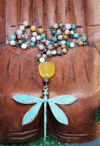 Orange Calcite & a Rustic Dragonfly on Gunmetal Chain with Mixed Matte Crystal Beads