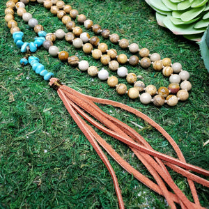 Picture Jasper with Blue Howlite Boho Necklace