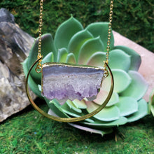 Load image into Gallery viewer, Amethyst Stalactite Slice Boho, Healing Necklace