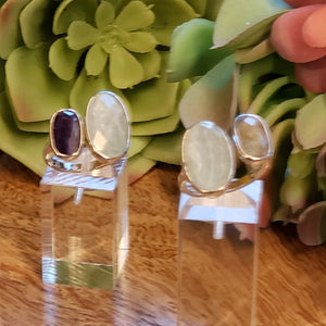 Double Crystal Rings, adjustable Sterling Silver