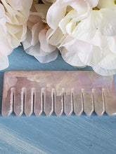 Load image into Gallery viewer, Aura Rose Quartz Scalp Comb