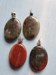African Bloodstone Oval Pendants