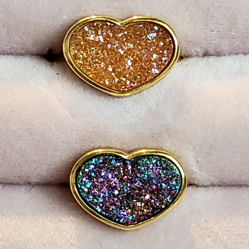 Druzy Heart-shaped Ring, 3 colors to choose from