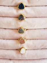 Load image into Gallery viewer, Druzy Triangular Ring, choose from 5 colors