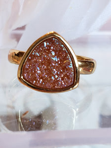 Druzy Triangular Ring, choose from 5 colors
