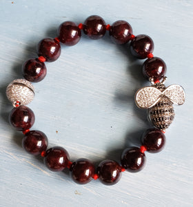Garnet Beauty Bee Bracelet