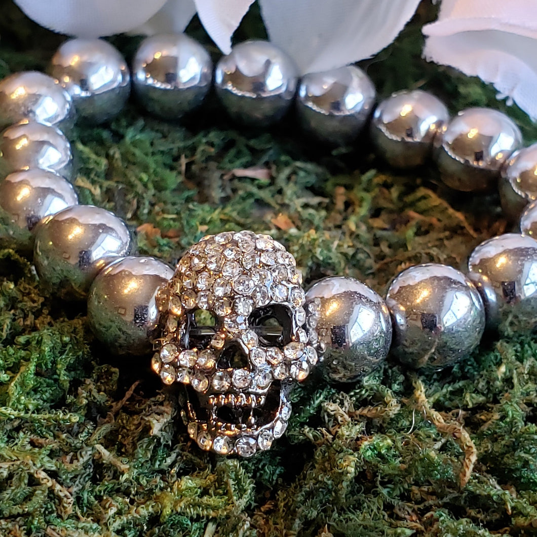 Silver Hematite with Blinged Out Skull