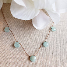 Load image into Gallery viewer, Aquamarine Delicate 5 Stone Knotted Necklace