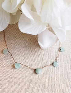 Aquamarine Delicate 5 Stone Knotted Necklace