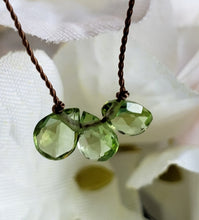 Load image into Gallery viewer, Peridot 3 Stone Knotted Necklace