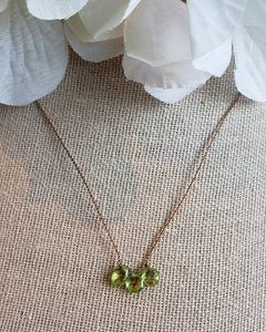 Peridot 3 Stone Knotted Necklace
