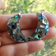Load image into Gallery viewer, Abalone Shell Crescent Moon Earrings