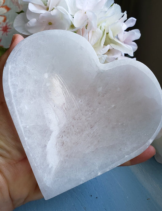 Selenite Heart Shaped Bowl