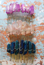Load image into Gallery viewer, Raw Crystal Aura Quartz Hair Combs