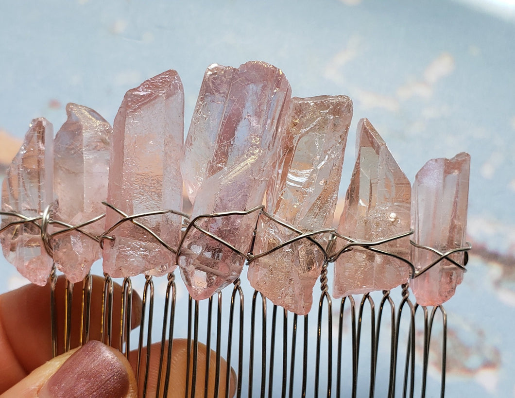 Raw Crystal Aura Quartz Hair Combs