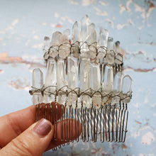 Load image into Gallery viewer, Clear Quartz Hair Combs with Slight touch of Aura Quartz