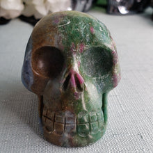 Load image into Gallery viewer, Blue Kyanite, Ruby in Zoisite Dual Stone Skull