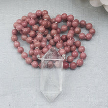 Load image into Gallery viewer, Rhodochrosite Mala with DT Clear Quartz Point - Minor Flaw (Priced Accordingly)