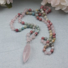 Load image into Gallery viewer, Soft, Soothing Mala with Amazonite, Rhodochrosite & A Pink Quartz Pendant