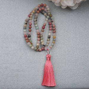Amazonite and Rhodochrosite Mala