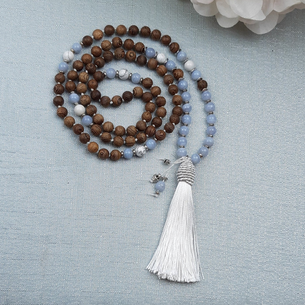 Blue Lace Agate and Sandalwood Mala with White Howlite