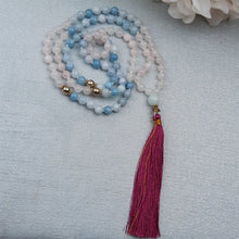 Load image into Gallery viewer, Aquamarine and Rose Quartz Knotted Mala