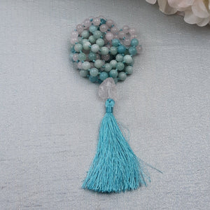 Aquamarine and Raw Quartz Mala with Raw Quartz Guru Bead