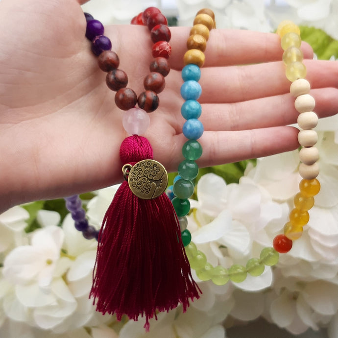 Bright Colored Chakra Mala with Tree of Life Pendant