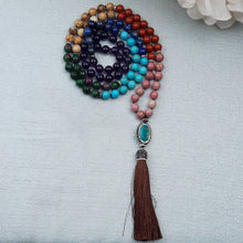 Load image into Gallery viewer, Multi Stone Chakra Mala with Pave Pendant and Tassel