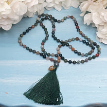 Load image into Gallery viewer, Indain Agate Mala with OM charm