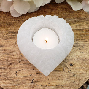 Selenite Votive Candle Holder - Heart Shape