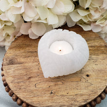 Load image into Gallery viewer, Selenite Votive Candle Holder - Heart Shape