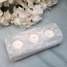 Load image into Gallery viewer, Selenite Log - 3 Votive Candle Holder