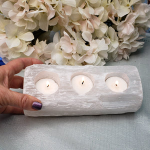 Selenite Log - 3 Votive Candle Holder