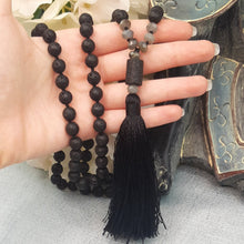 Load image into Gallery viewer, Black Lava Mala with Labradorite