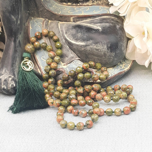 Unakite Mala with Faceted Beads and Gold OM Charm