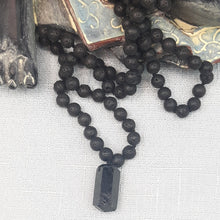 Load image into Gallery viewer, Black Lava Mala with a Black Tourmaline Pendant