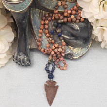 Load image into Gallery viewer, Leopard Skin Jasper, Pyrite & Sodalite Mala with Arrowhead Pendant