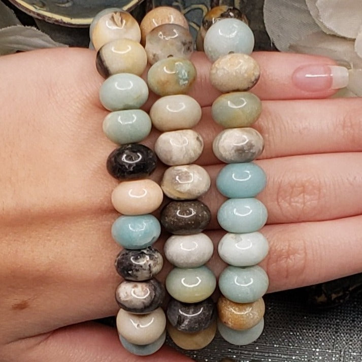 Amazonite Chunky Bracelet with Hematite