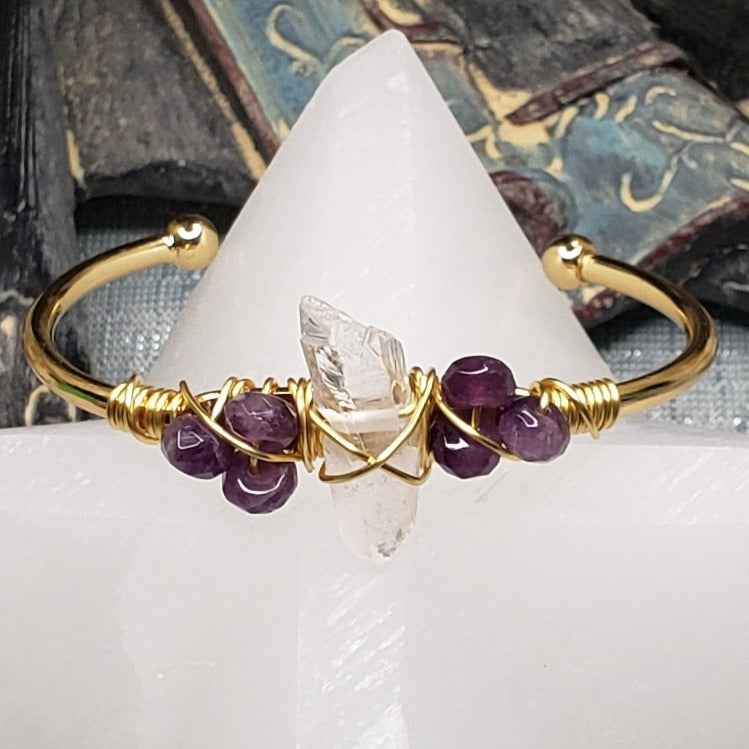 Amethyst Wire Wrapped Cuff