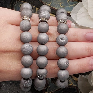 Druzy Agate Beads with Pyrite Buddha Head