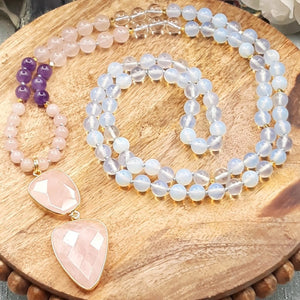 Opalite Mala with Amethyst, Clear and  Rose Quartz