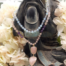 Load image into Gallery viewer, Opalite Mala with Amethyst, Clear and  Rose Quartz